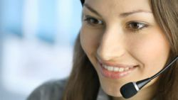 Woman on Telephone Headset