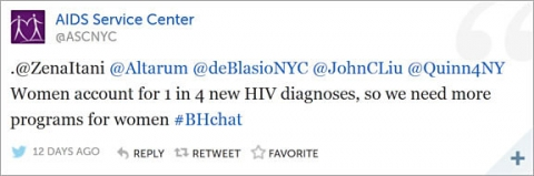 Screen shot of Tweet from AIDS Service Center
