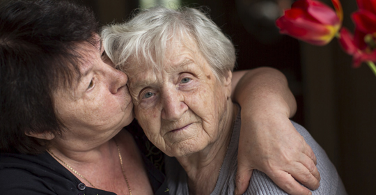 Frail elder provided care by her adult daughter